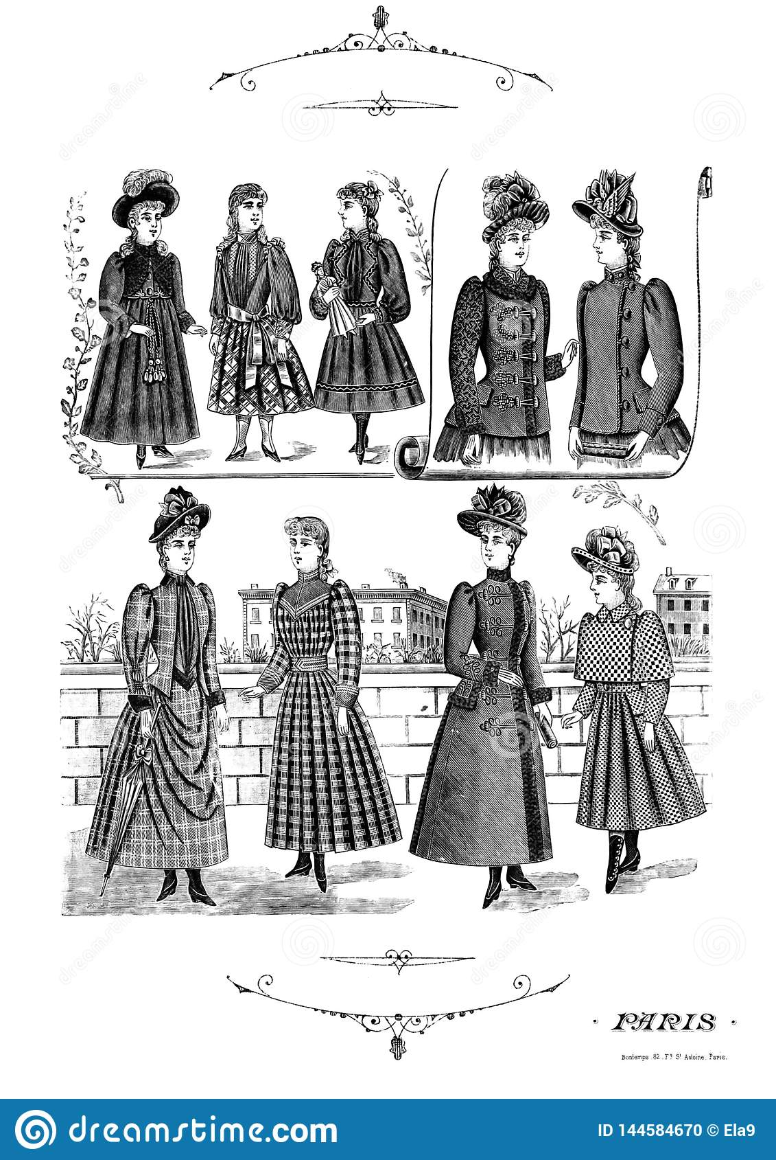 Vintage fashion clip art set