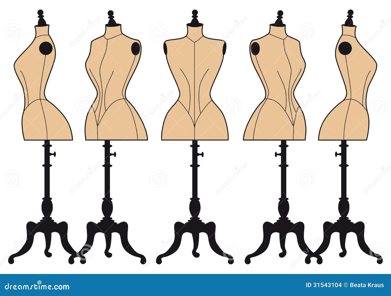 Vintage Fashion Mannequins Vector Set Stock Images Image 31543104