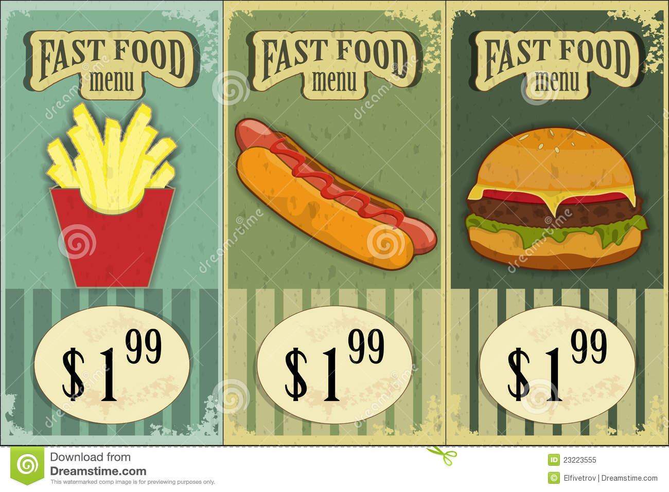 Vintage Fast Food Labels Royalty Free Stock Photo - Image: 23223555