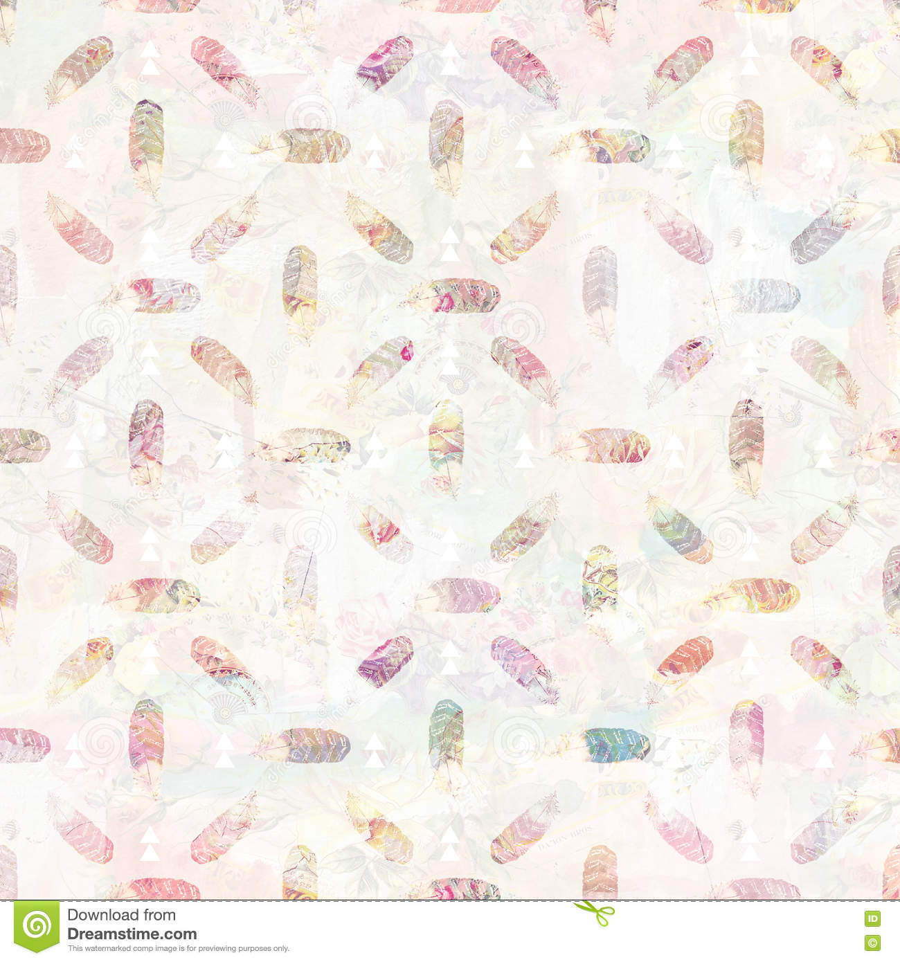 Vintage feather and arrows tribal background pattern in soft pastel colors