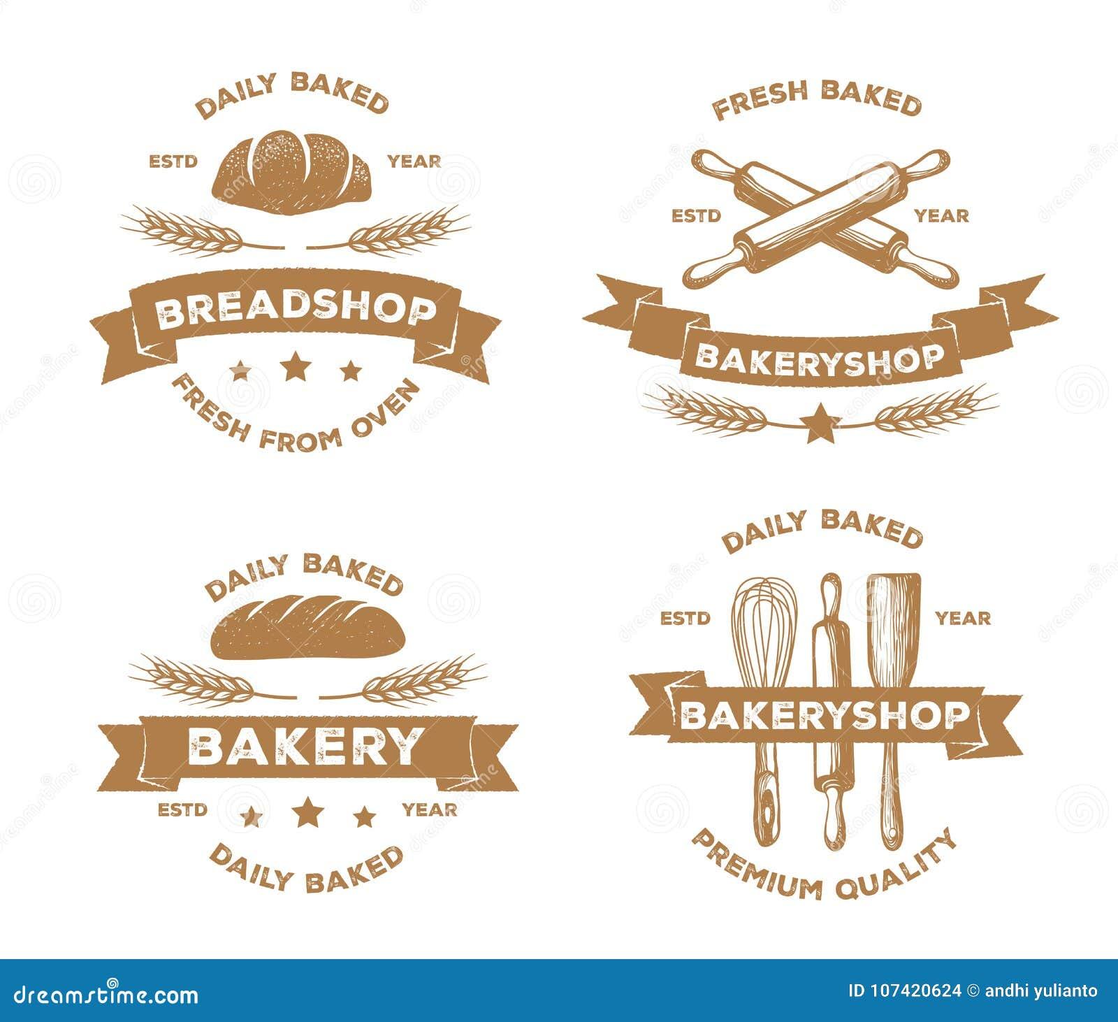 Vector logo design of bakery, bread shop, pastry