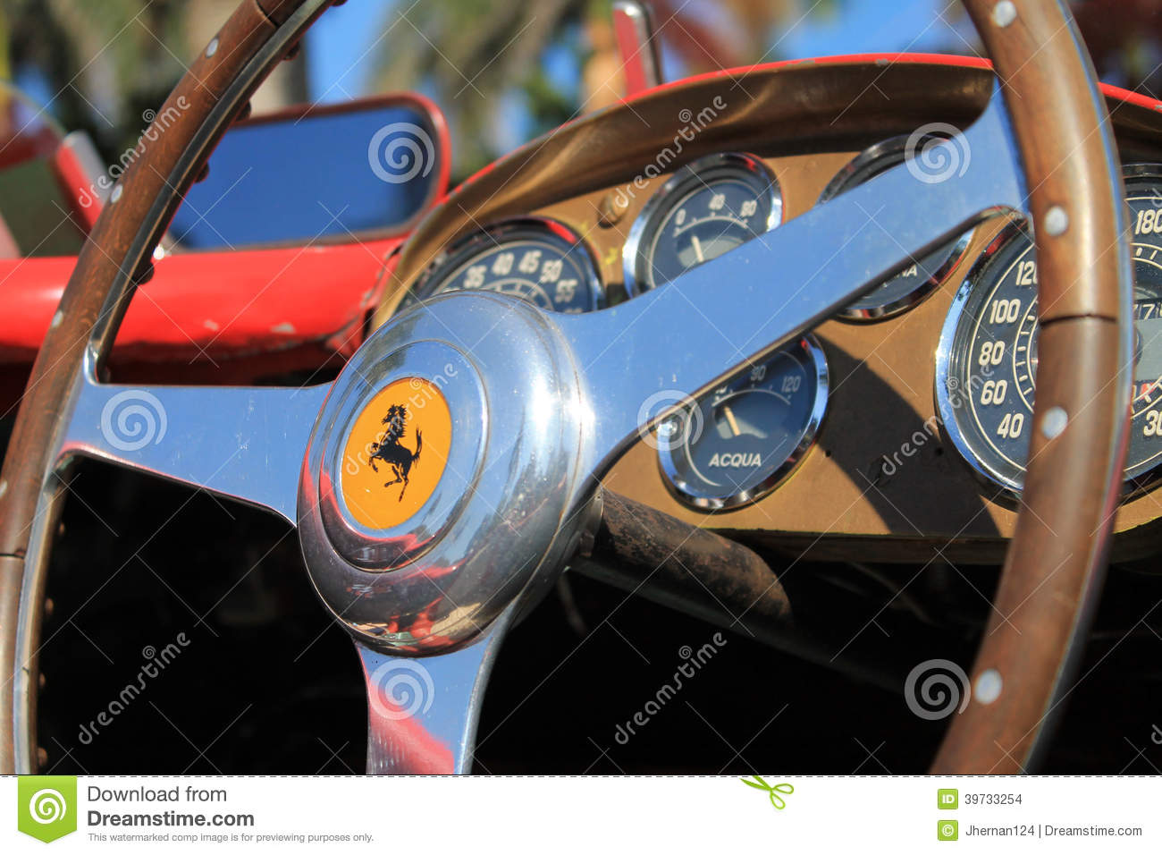 vintage ferrari racer steering wheel and cockpit editorial stock image image 39733254. Black Bedroom Furniture Sets. Home Design Ideas