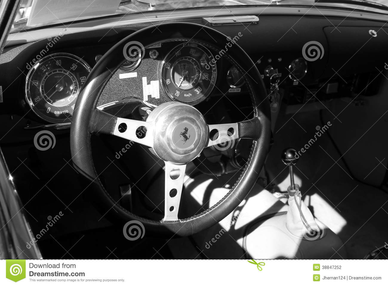 vintage ferrari sports car interior close up b w editorial photography image 38847252. Black Bedroom Furniture Sets. Home Design Ideas