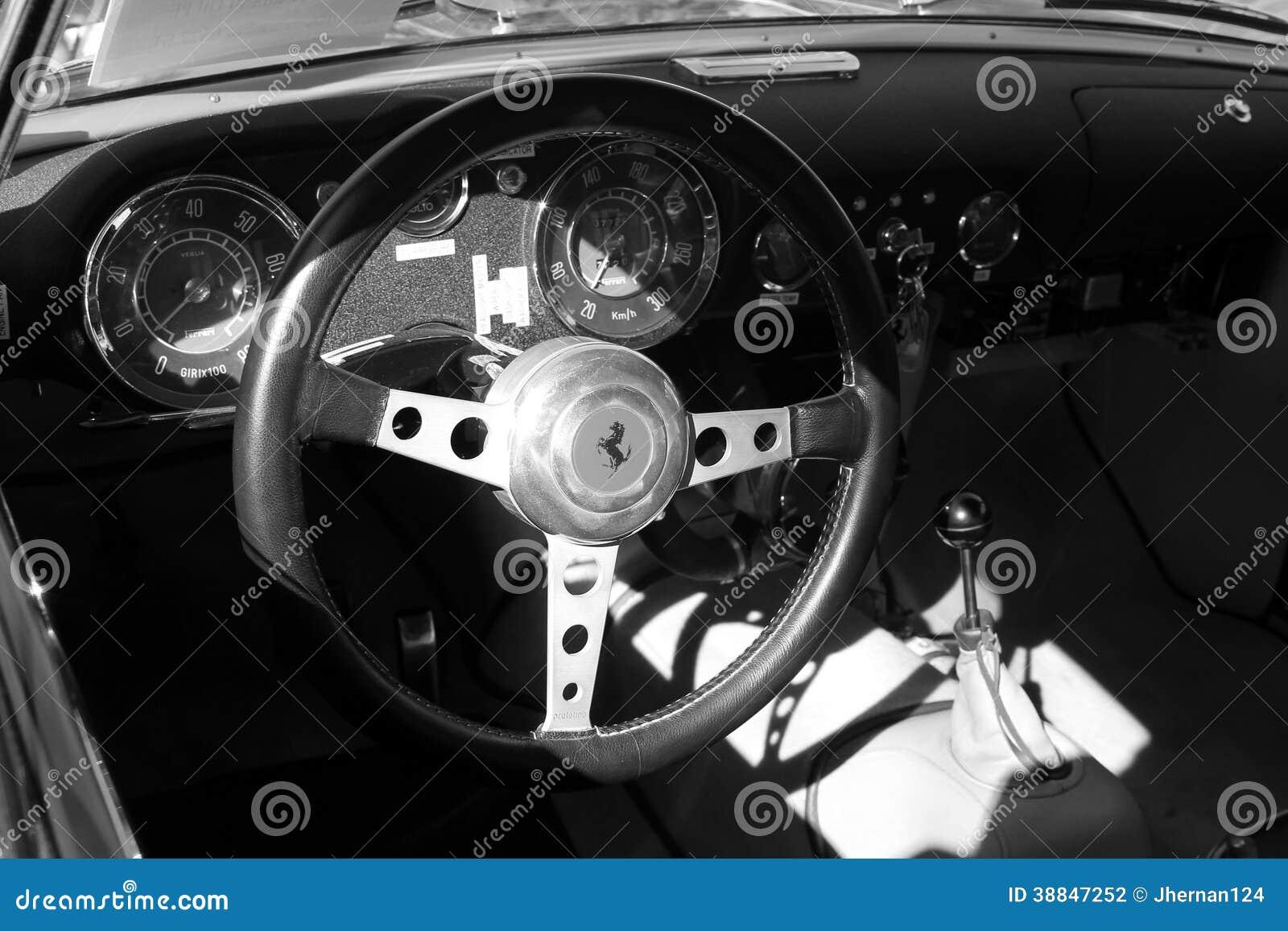 vintage ferrari sports car interior close up b w editorial photography image 38847252. Black Bedroom Furniture Sets. Home Design Ideas