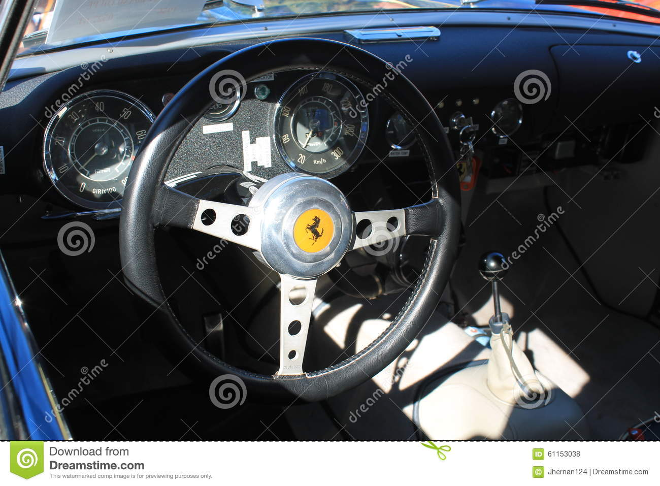 vintage ferrari sports car interior close up editorial stock photo image 61153038. Black Bedroom Furniture Sets. Home Design Ideas