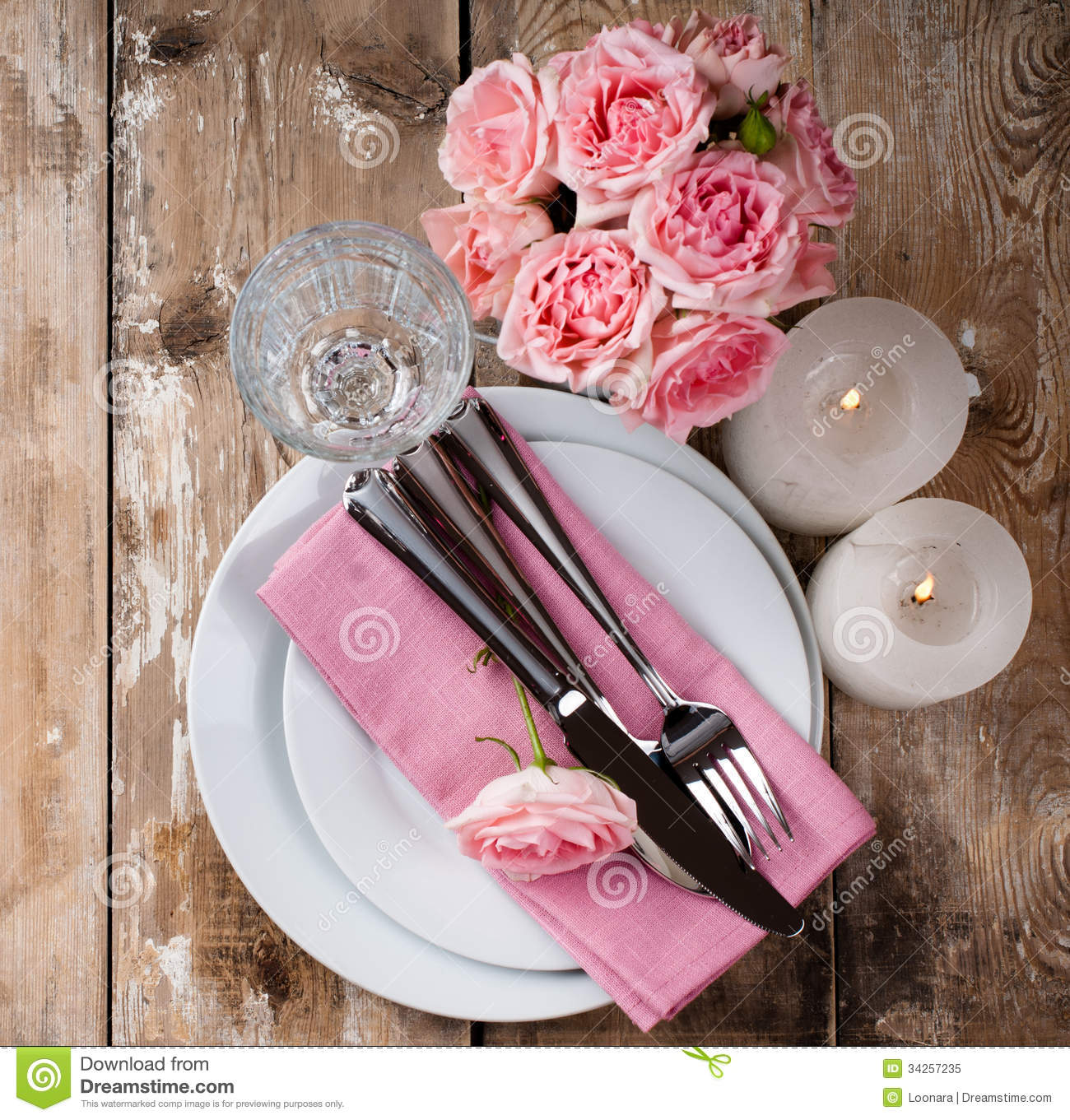 Vintage Festive Table Setting With Pink Roses Stock Image - Image of ...