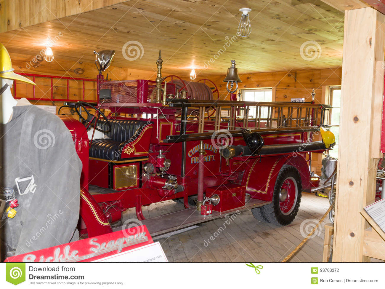 Vintage fire engine editorial photography  Image of house - 93703372