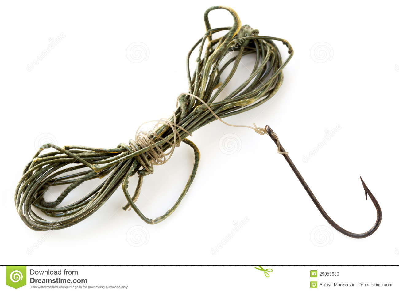 Vintage fishing line and rusted hook stock photo image for Fish and hooks