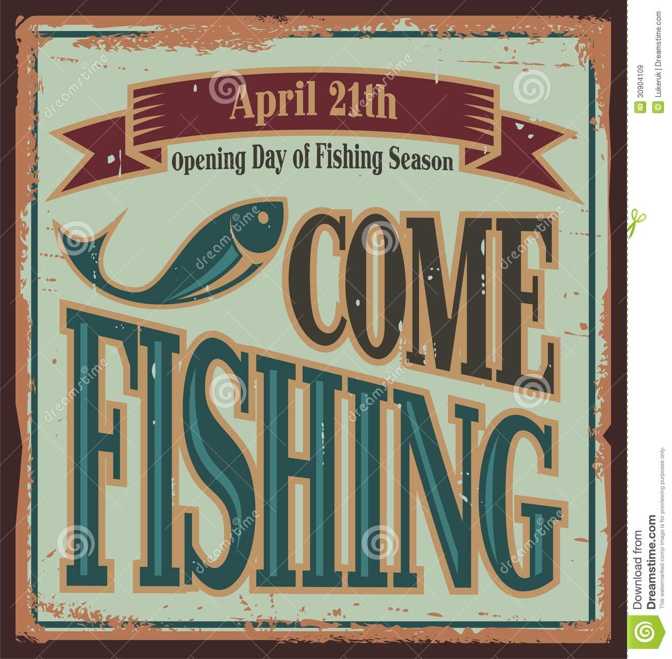 Vintage fishing metal sign stock vector. Illustration of template ...