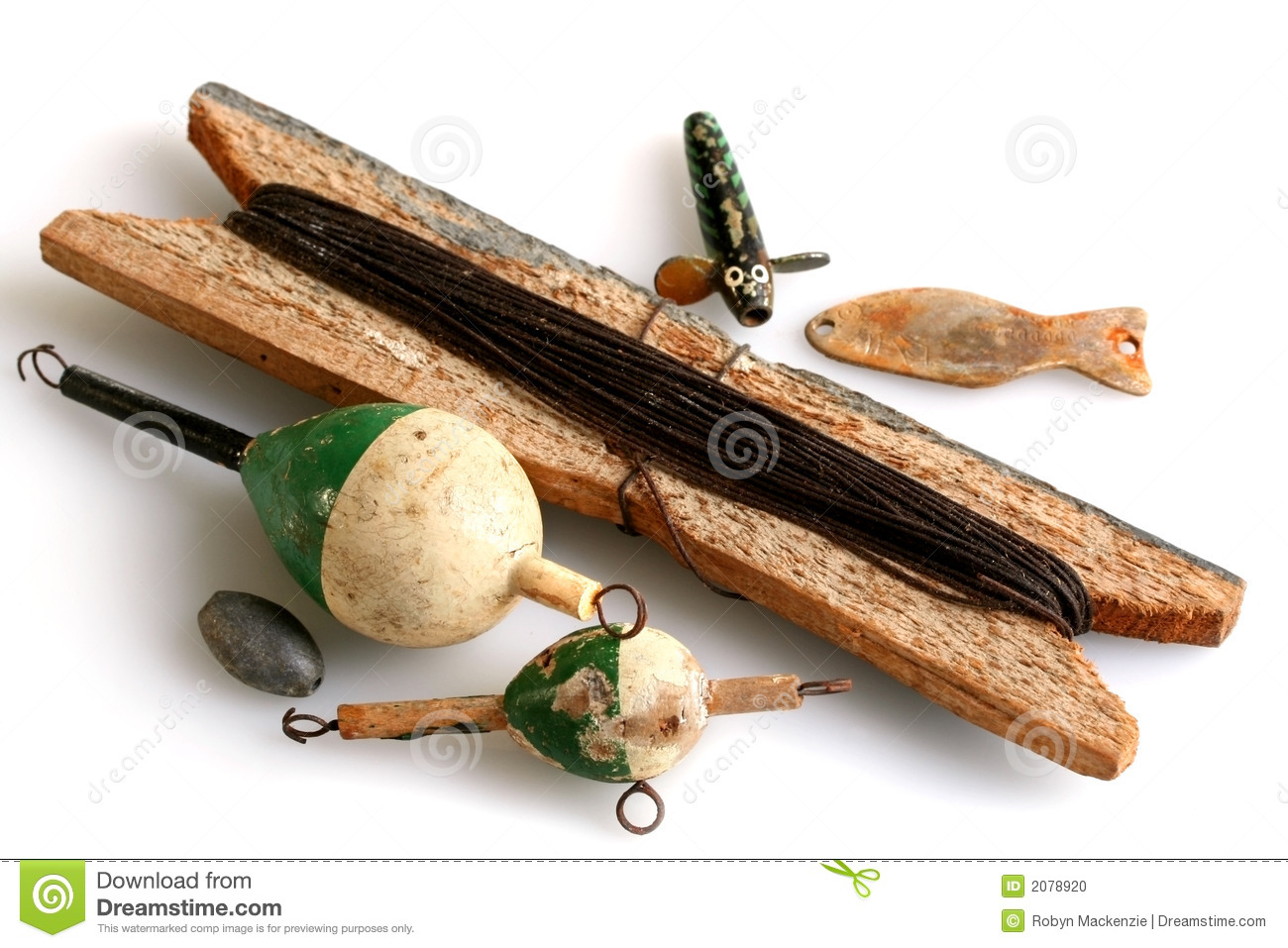 Vintage fishing tackle stock photo image of floats for Collectible fishing lures