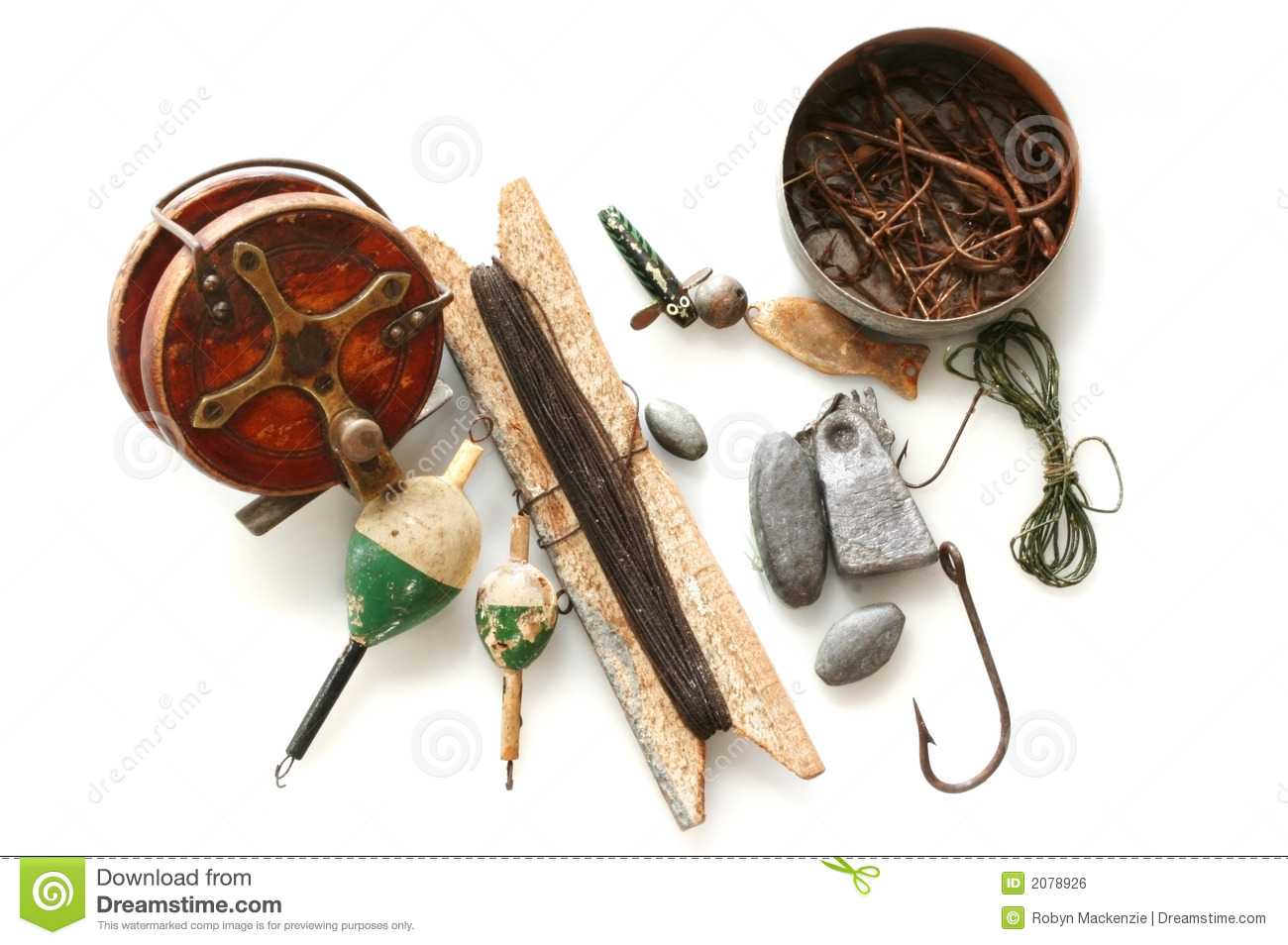 Closeup of fishing tackle stock photography for Vintage fishing tackle