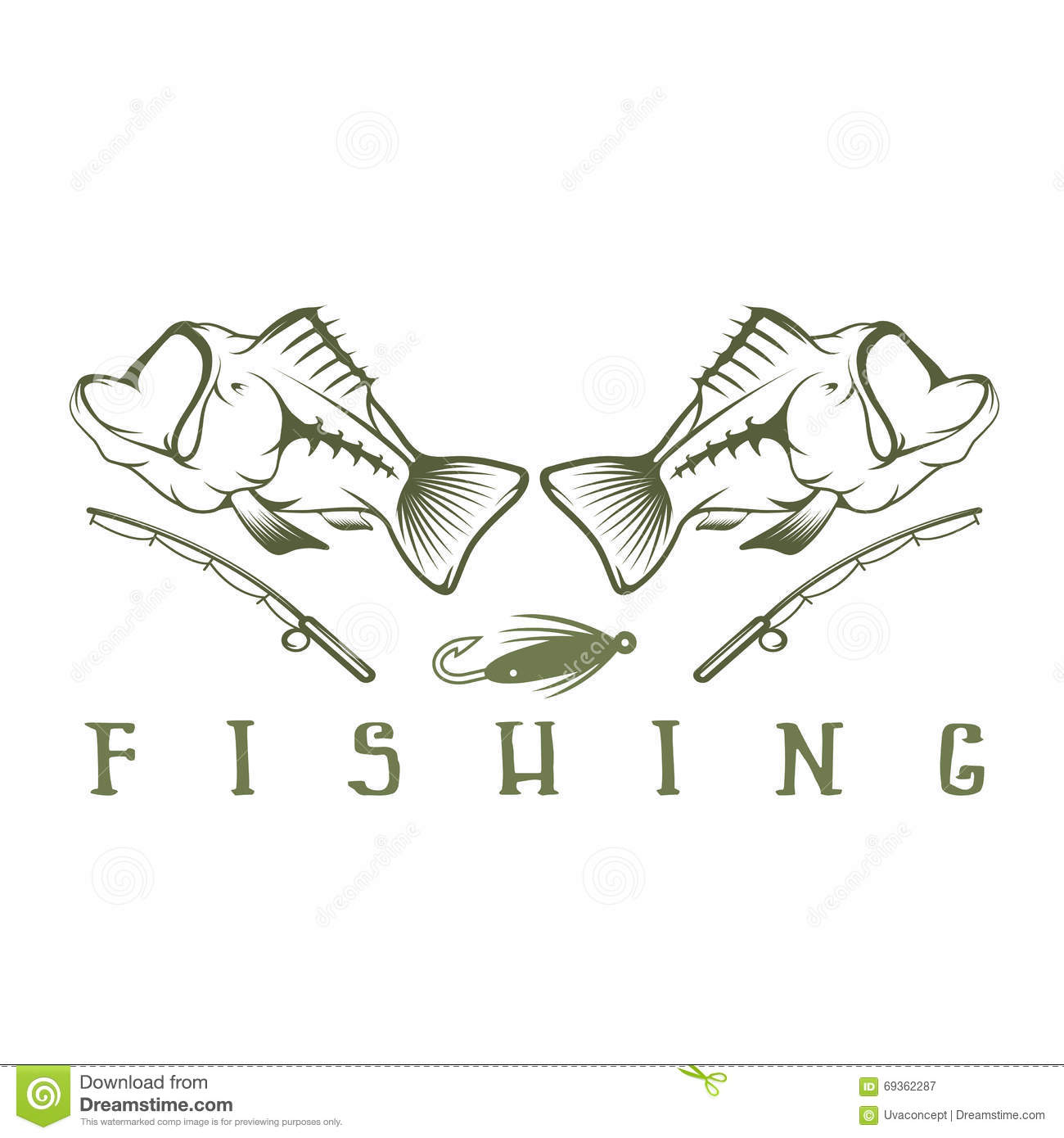 Vintage fishing vector design template cartoon vector for Fish mouth template