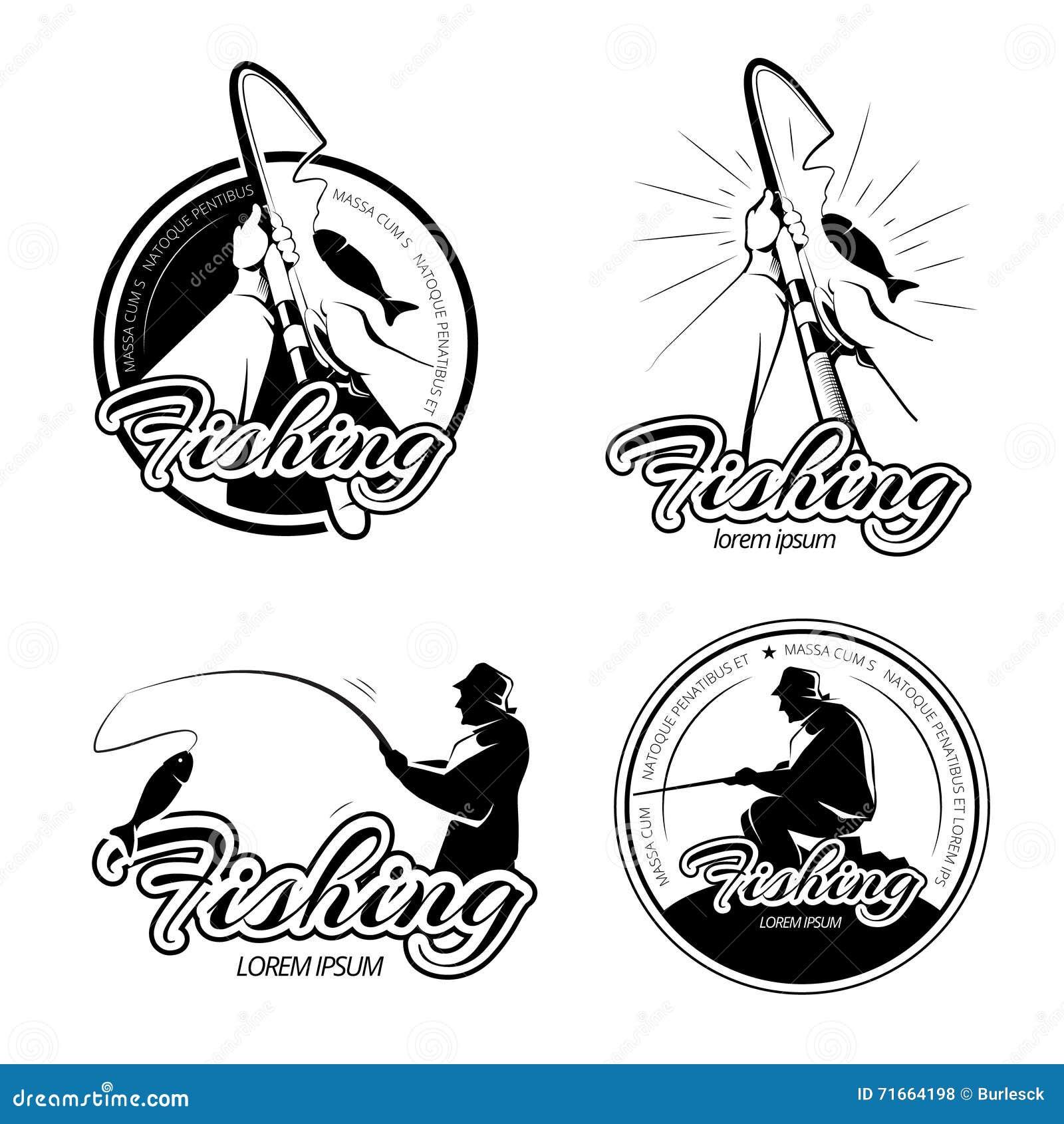 Vintage fishing vector logos, emblems, labels set
