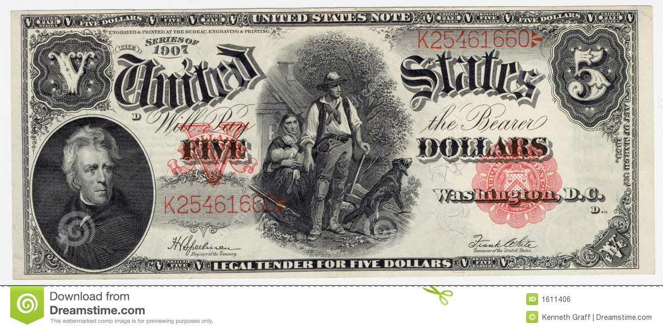 vintage five dollar bill royalty free stock image image