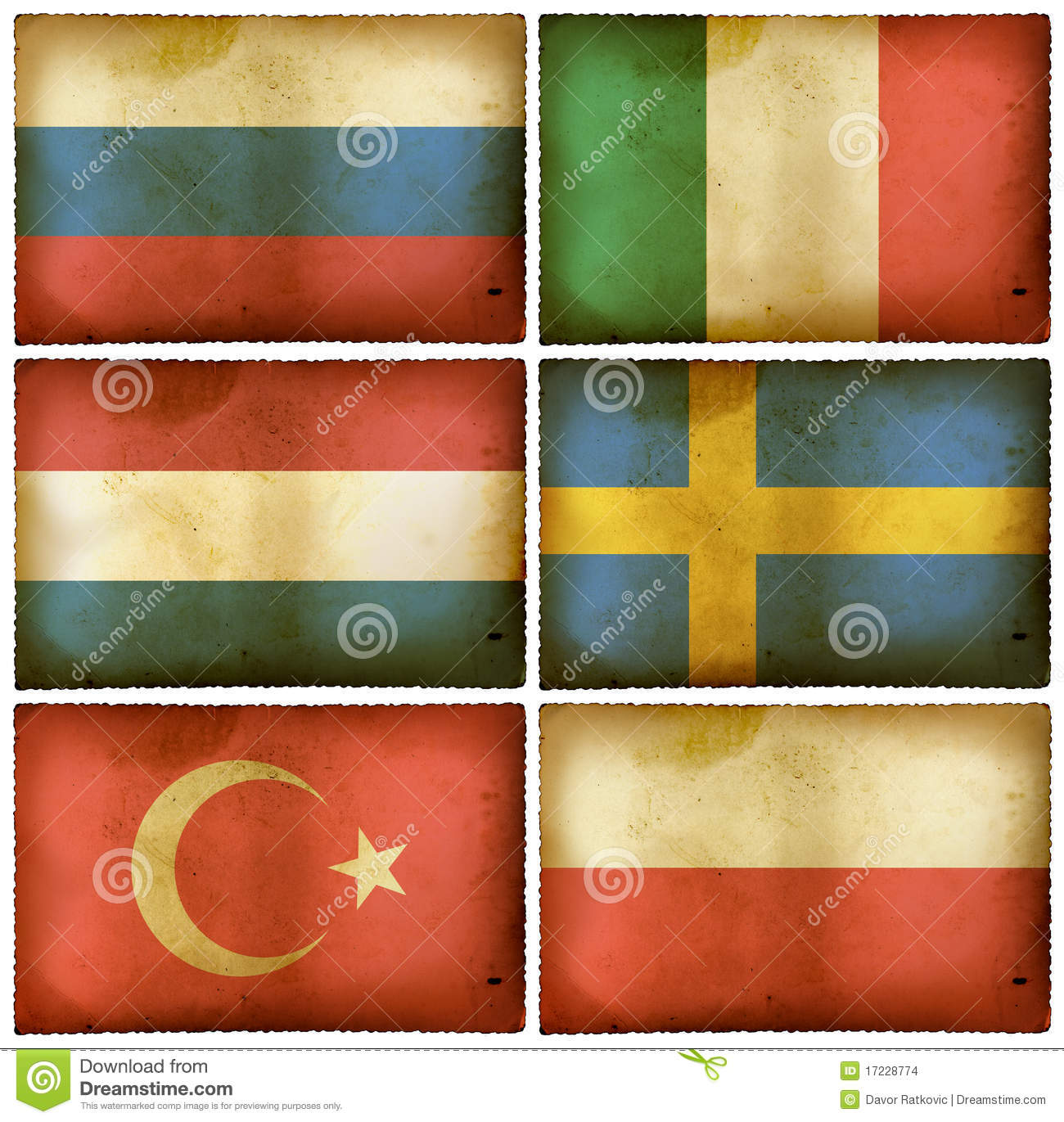Vintage flags set Europe two