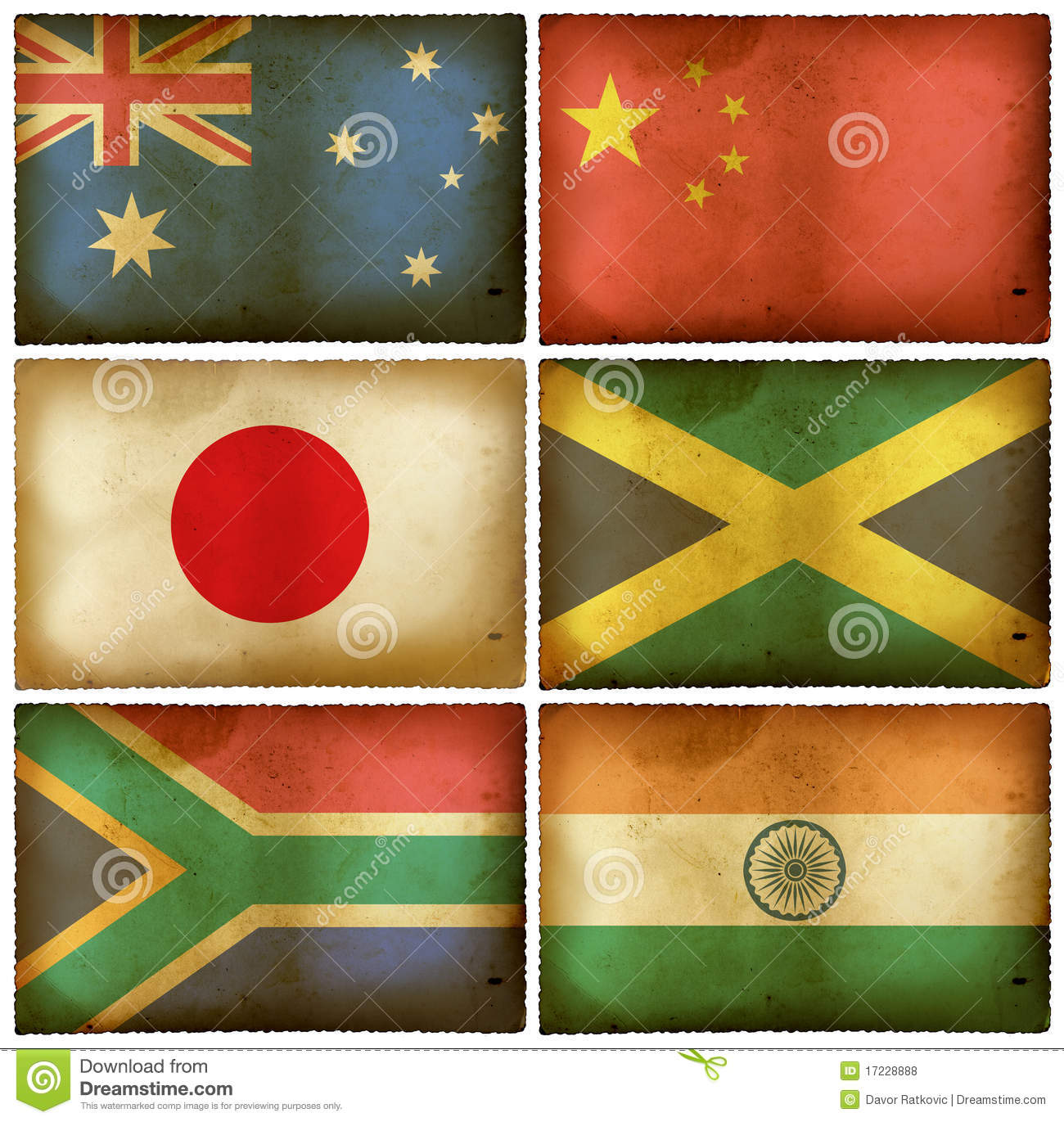 Vintage flags set mix