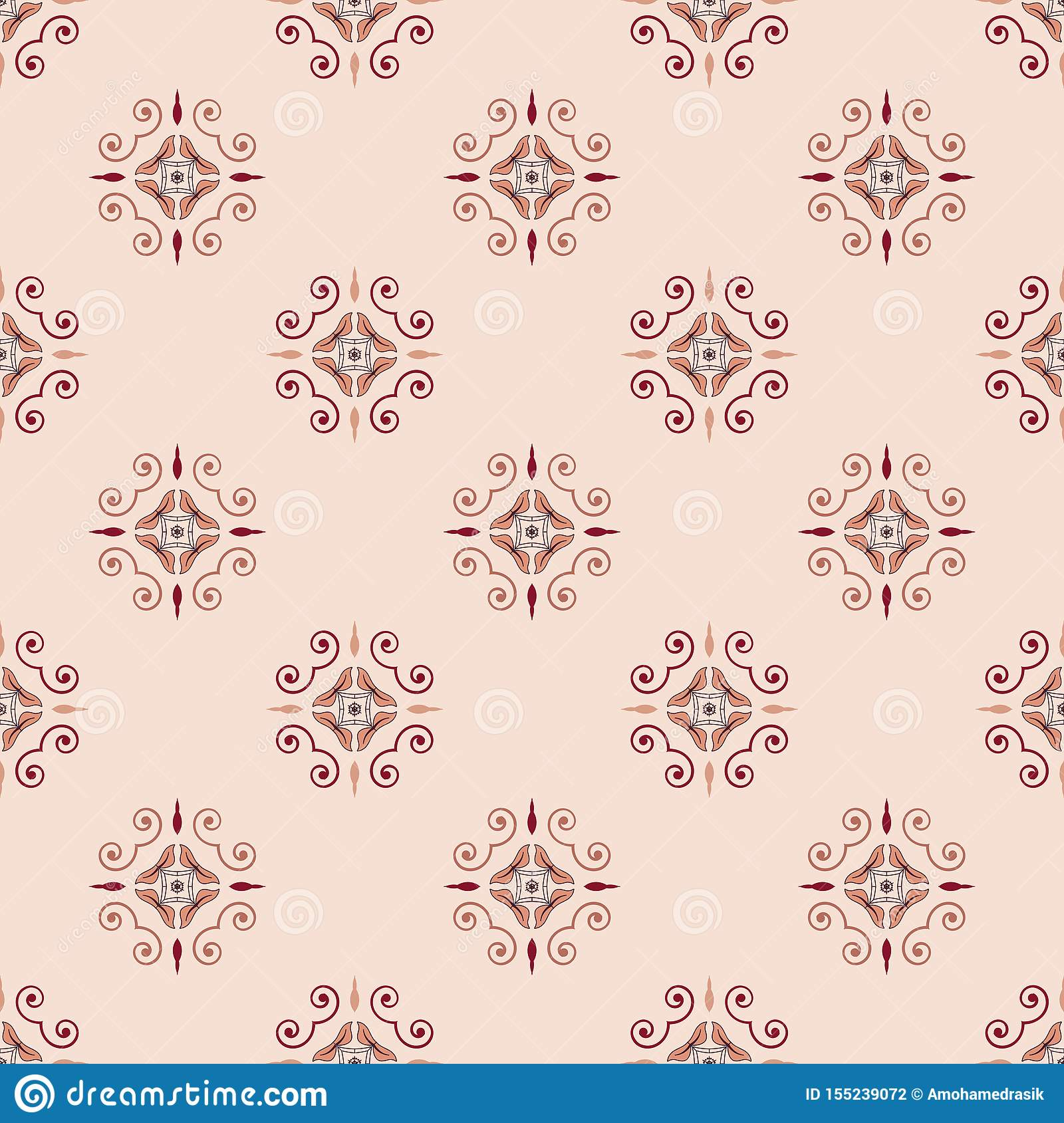 Vintage floral abstract geometrical seamless pattern vector