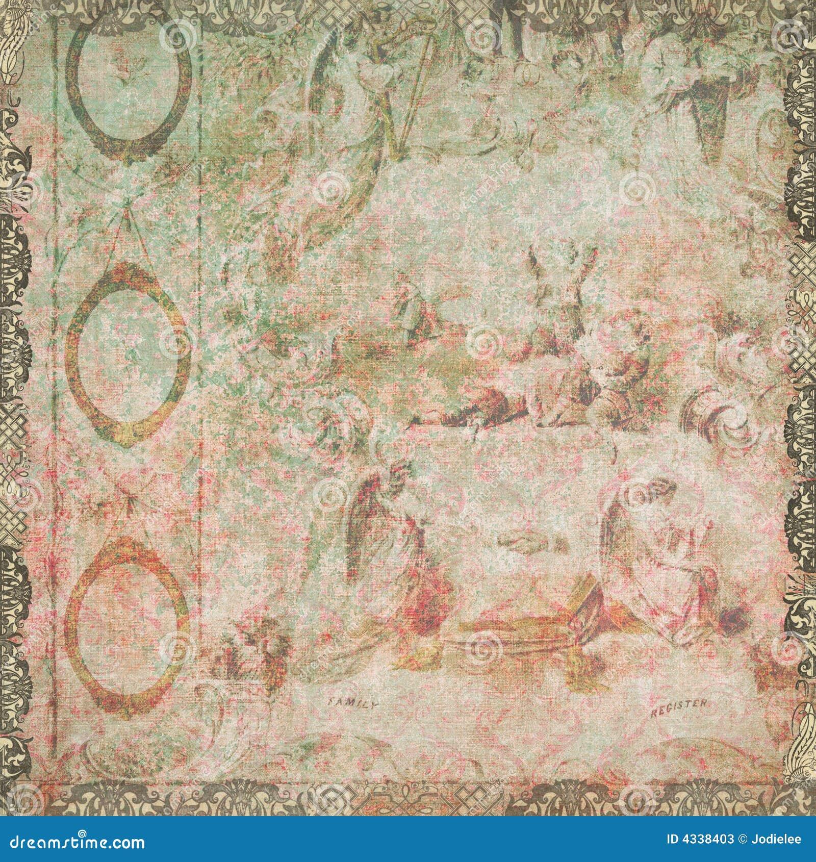vintage floral and angels wallpaper stock photos image 4338403. Black Bedroom Furniture Sets. Home Design Ideas