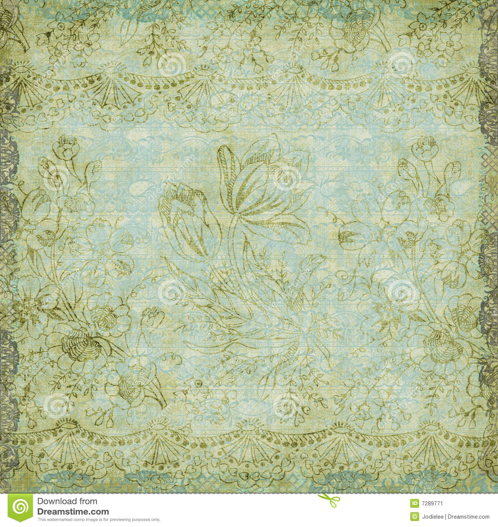 Vintage Floral Antique Background Theme Stock Illustration