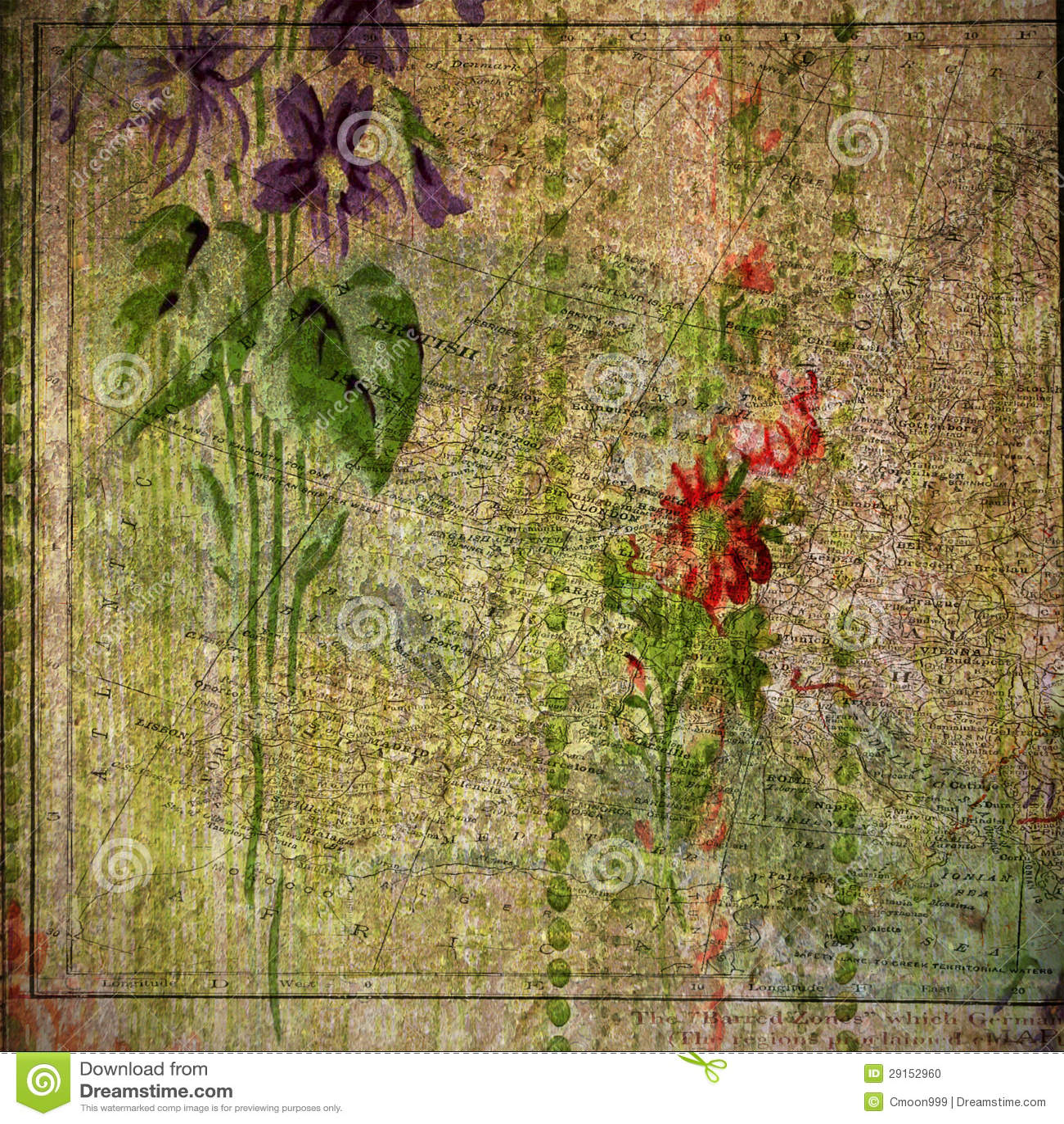 Vintage Floral And Atlas Print Background Stock Illustration Illustration Of Craft Elegant