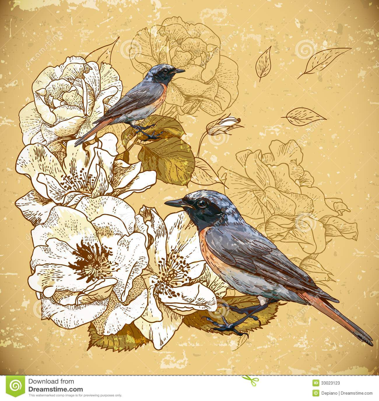 Vintage Bird Background vintage floral background with birds stock ...