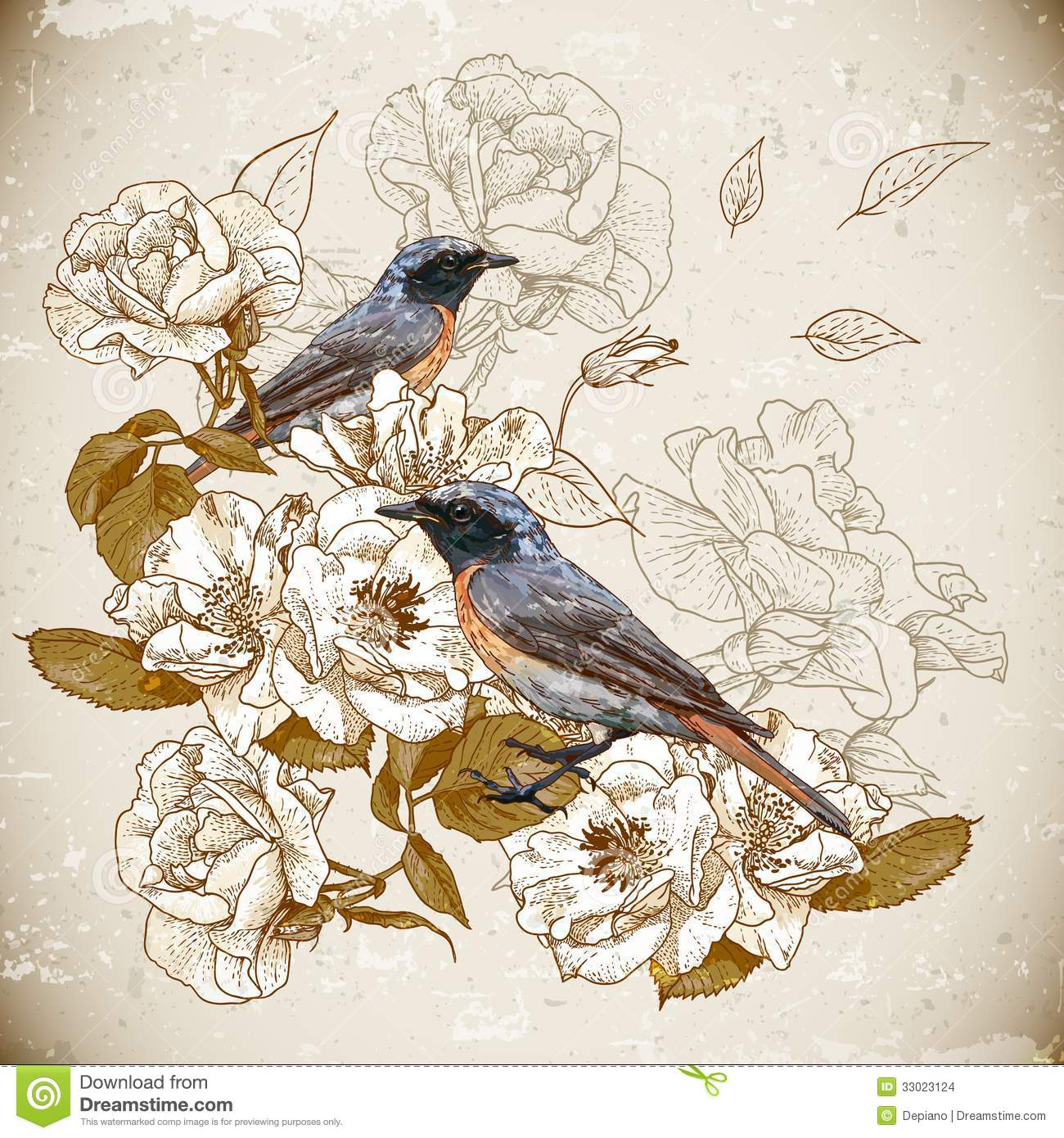 Vintage Floral Background With Birds Stock Images Image 33023124