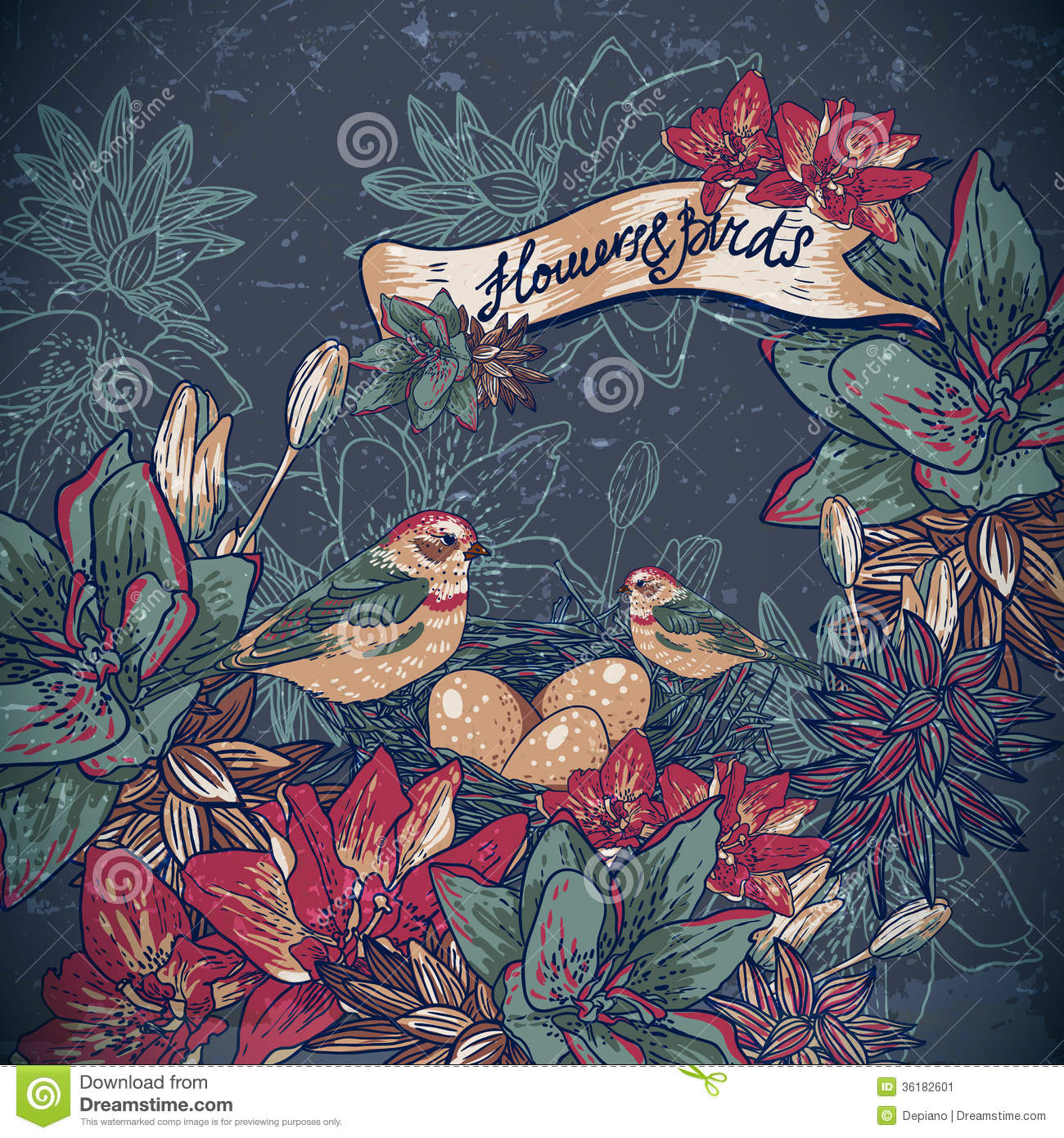 Vintage Floral Background With Birds Stock Vector Illustration