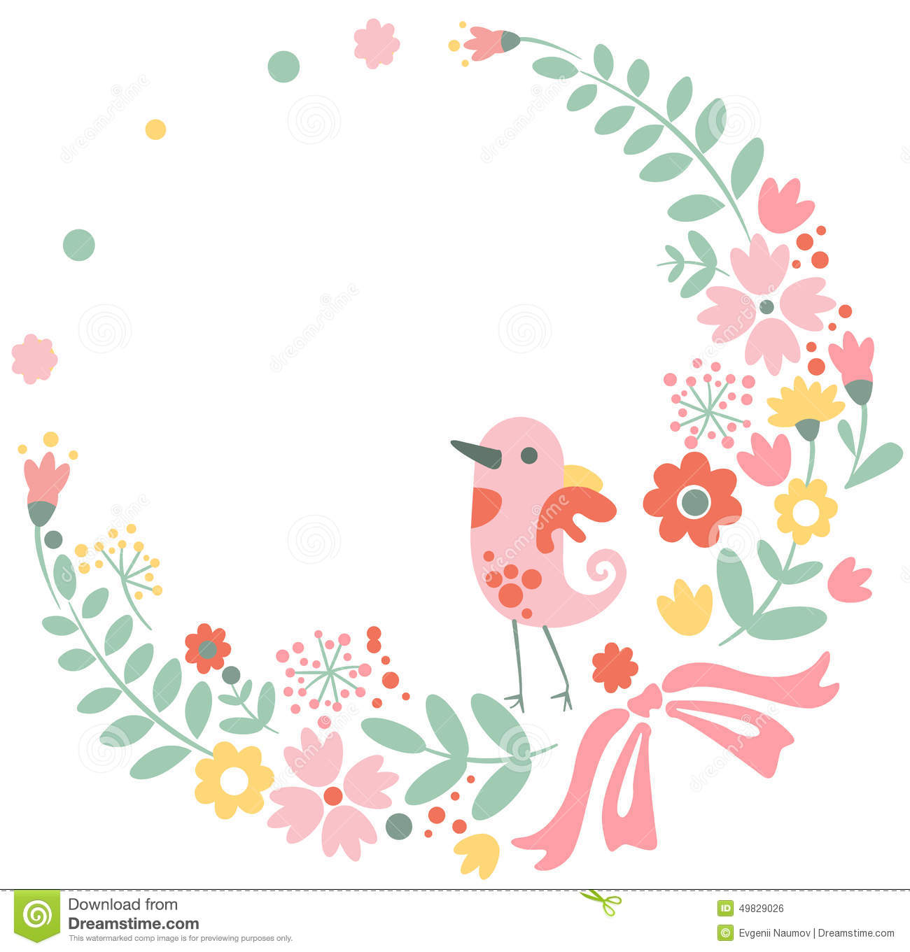 vintage floral background with cute bird in pastel stock