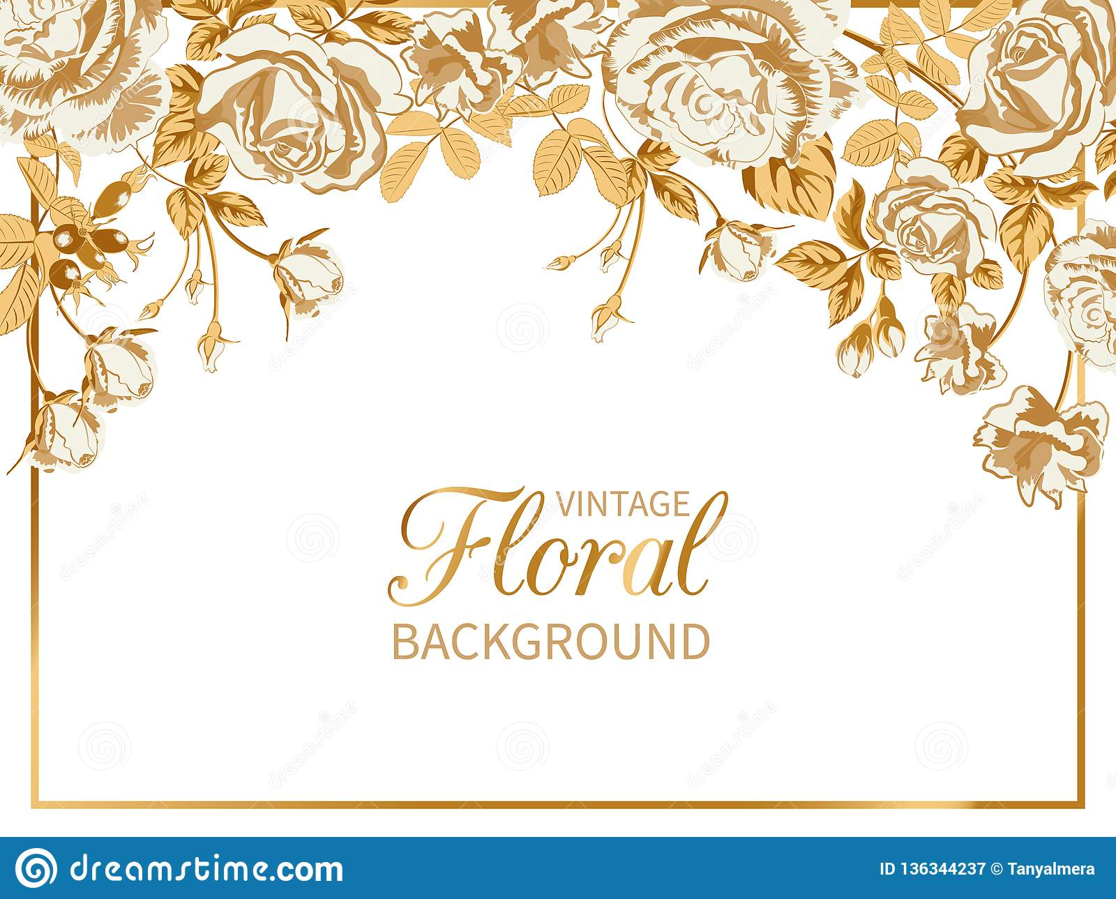 Vintage Floral Background With Frame Of Golden Roses Stock Vector