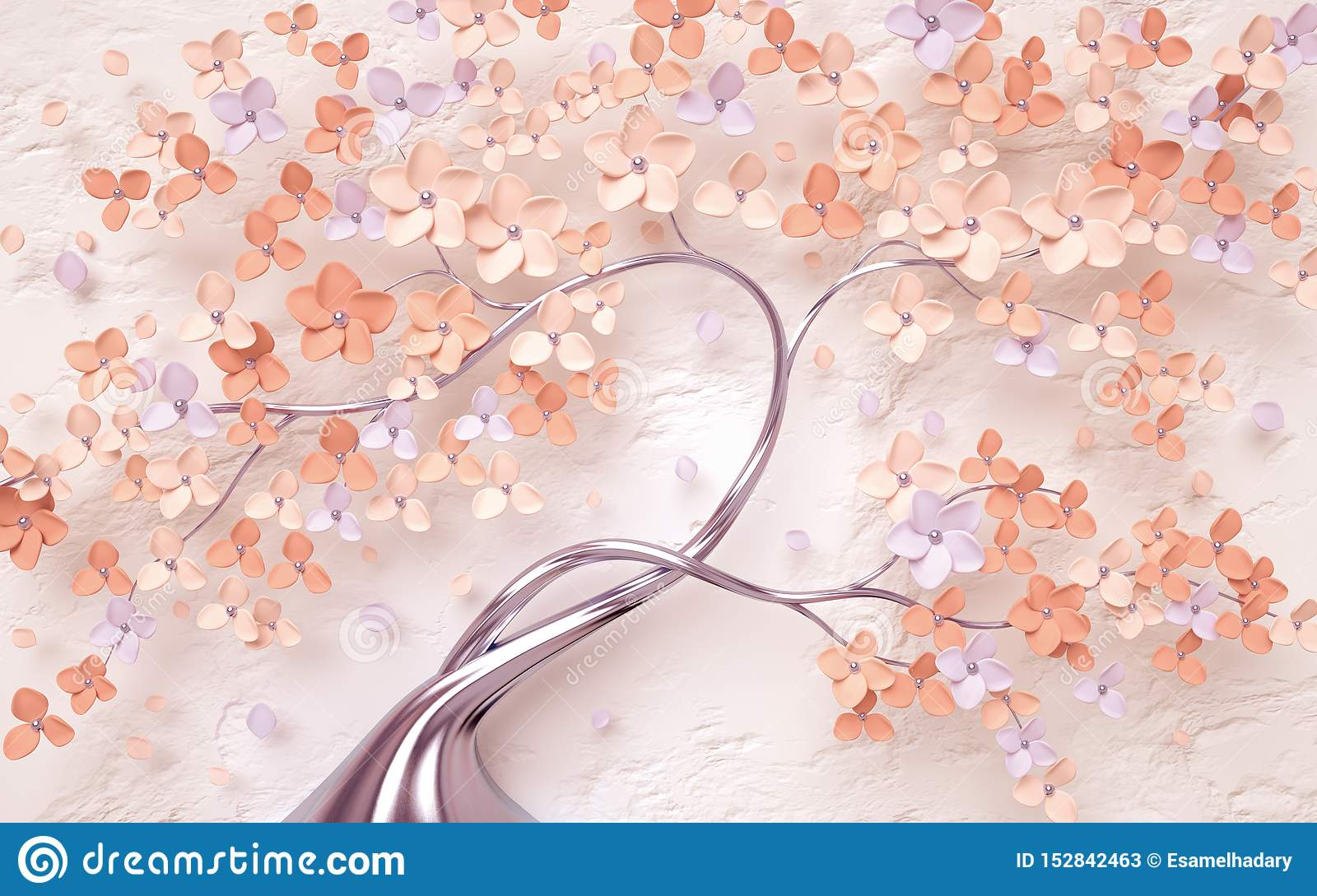 Vintage Floral Background With Tree Flowers Stock Illustration