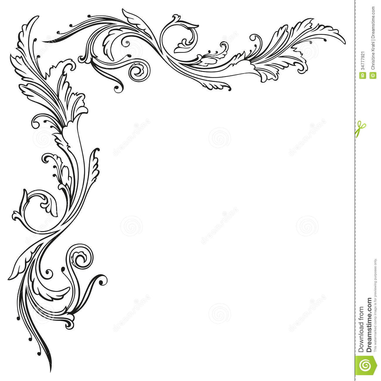 Vintage Floral Border Stock Image Image Of Drawing