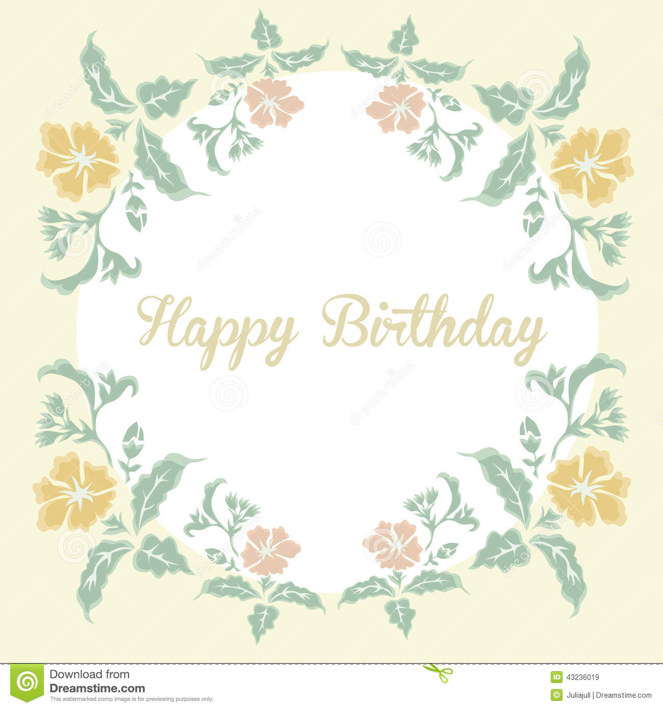 vintage floral card with inscription happy birthday illustration
