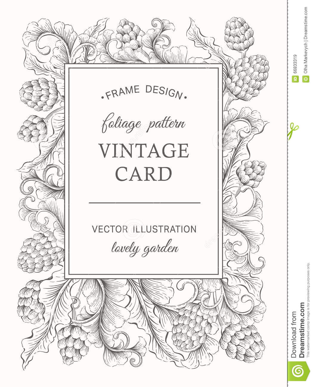 Vintage Floral Card Stock Vector Illustration Of Design