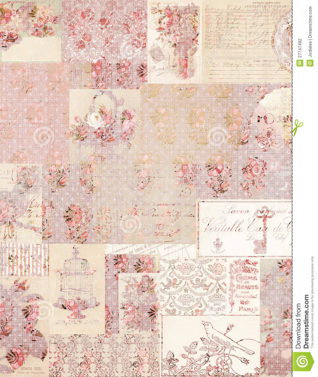 vintage floral collage background stock photo image