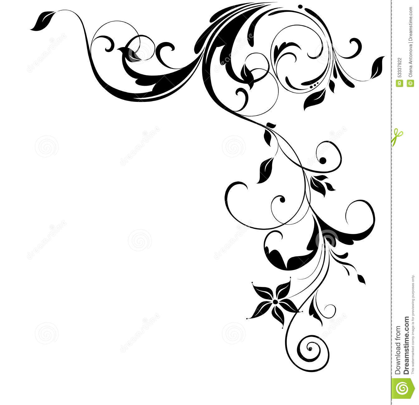 Stock Illustration Vintage Floral Corner Black White Image53337922 on Swirl Border Pattern