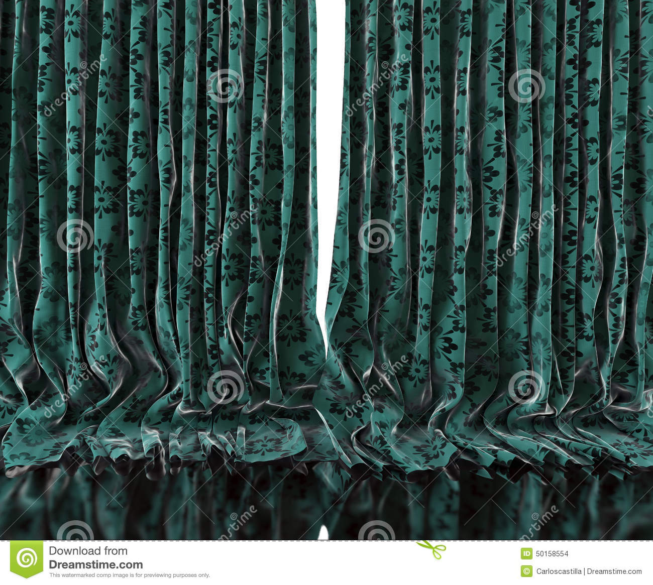 Blue and green floral curtains - Background Curtains Floor Floral