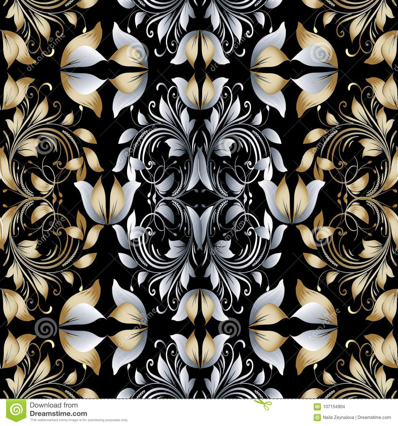 Vintage Seamless Black And White Floral Pattern Vector ...   Black Floral Vintage Pattern