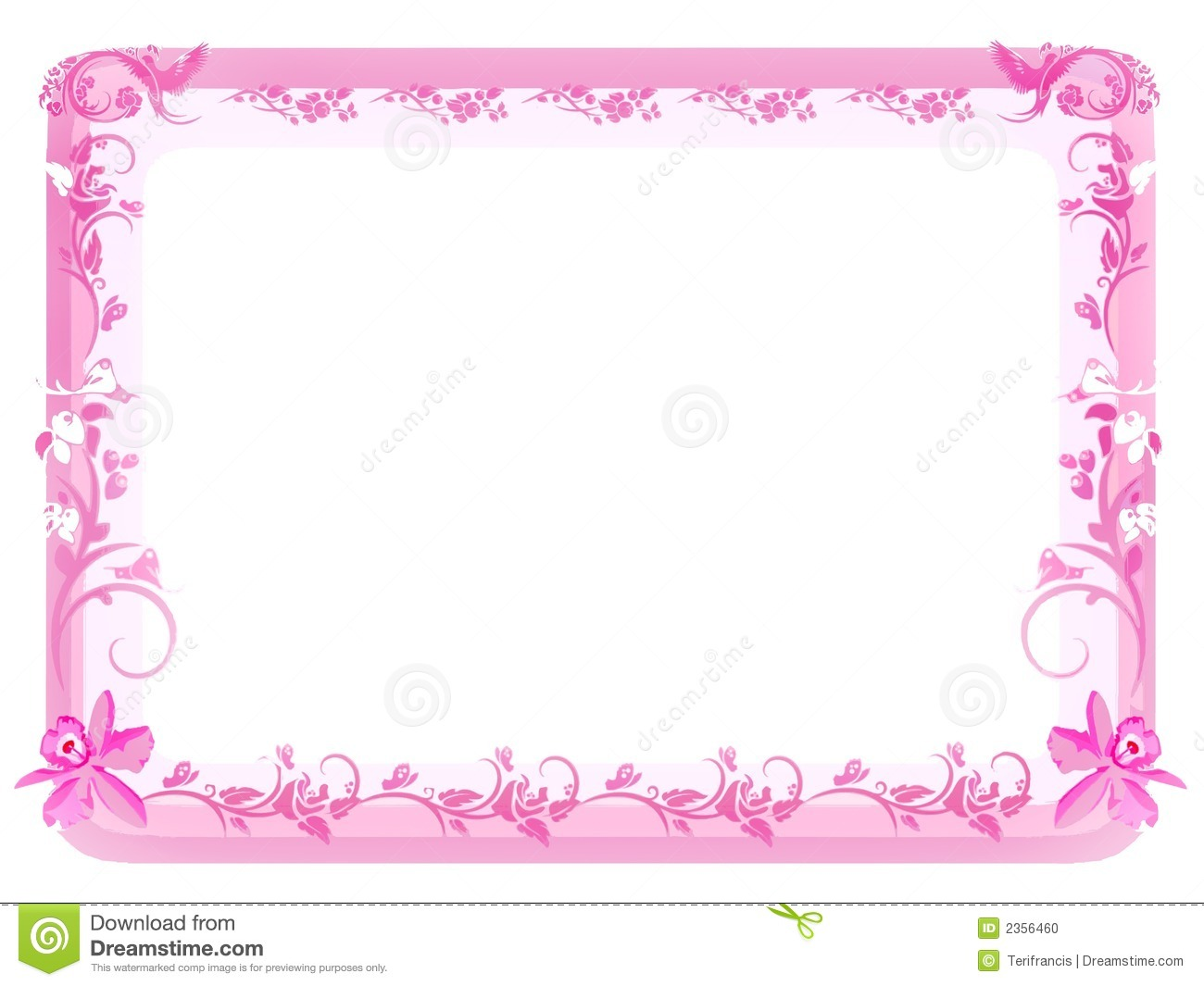 Vintage Floral Frame - Pink Stock Illustration - Illustration of ...