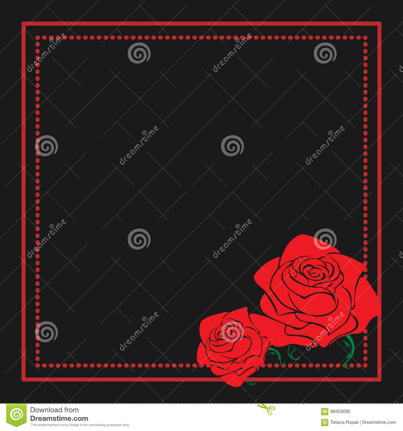 Vintage Floral Frame With Roses Silhouette. Red And Black Vector ...