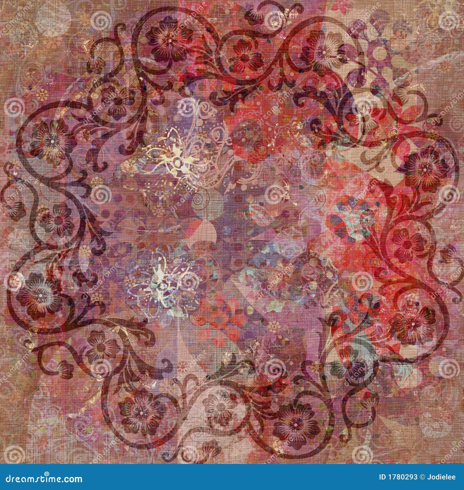 Vintage Floral Grunge Bohemian Tapestry Stock Illustration