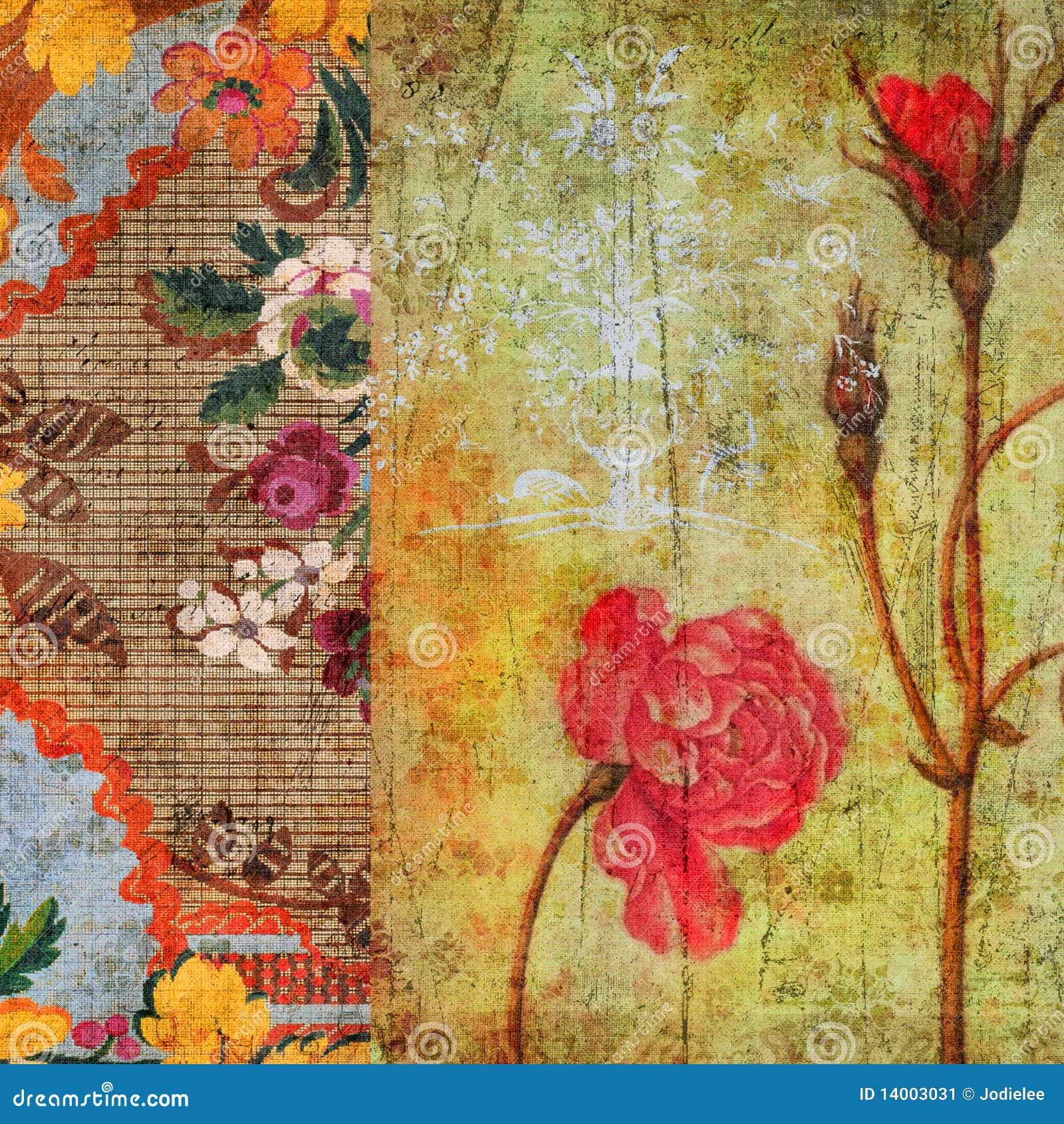 Vintage Floral Grunge Scrapbook Background Stock Image