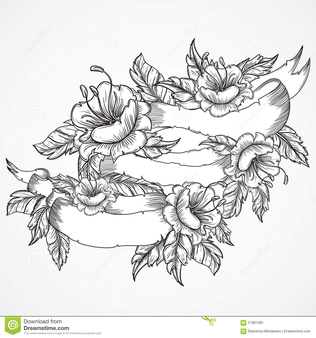 Vintage Floral Highly Detailed Hand Drawn Bouquet Of Flowers And
