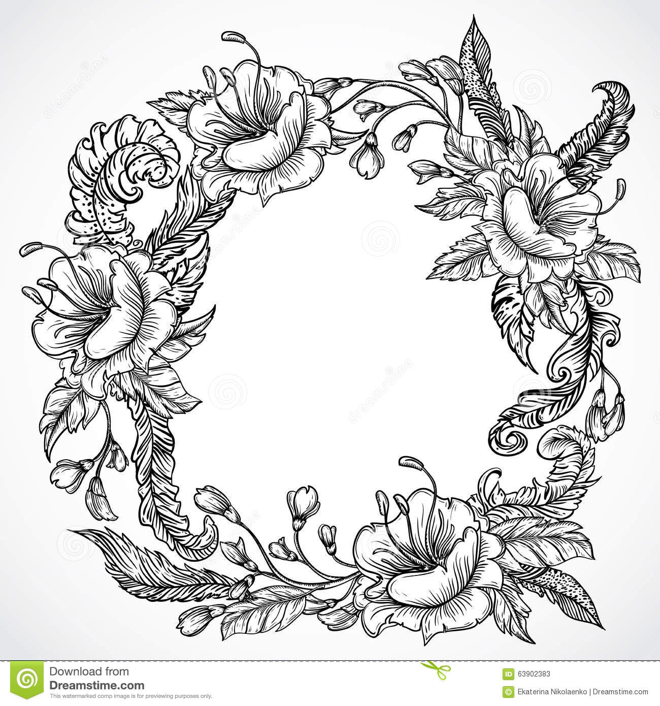 Vintage floral highly detailed hand drawn wreath of flowers and feathers.Retro banner, invitation, wedding card, scrap booking.