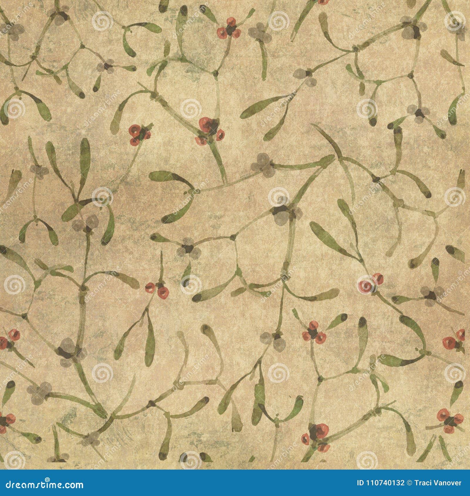 Distressed Vintage Floral Illustration Background Mistletoe Pattern Winter Holiday Scrapbook Paper Design Stock Illustration Illustration Of Distressed Antique 110740132