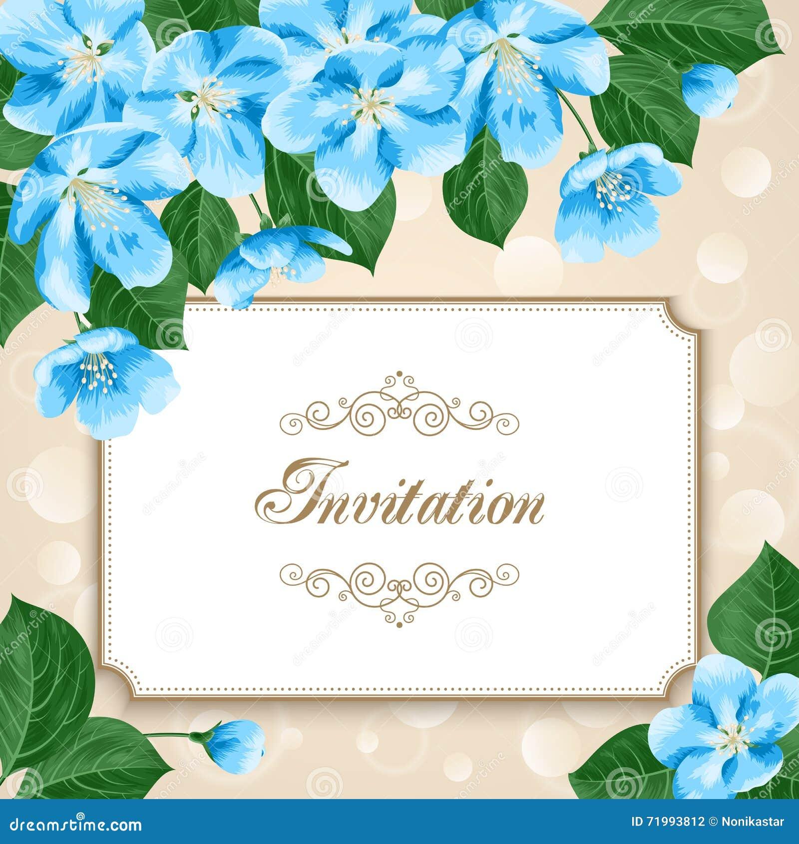 vintage floral invitation template stock vector illustration of