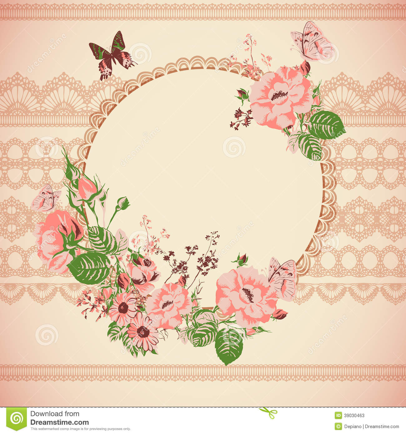 Vintage Floral Lace Background With Roses Stock Vector ...