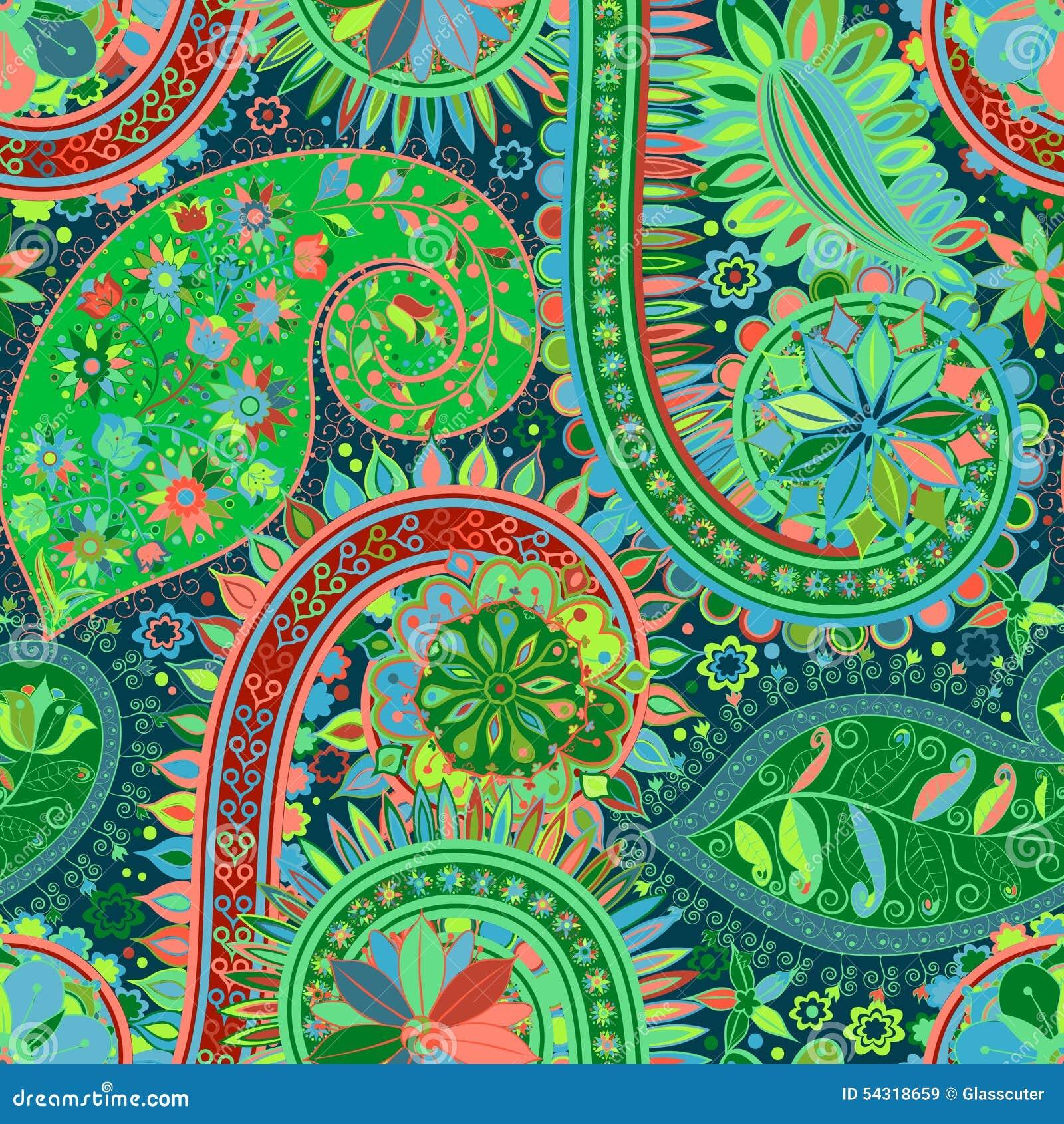 vintage floral motif ethnic seamless background vector illustration 53355160. Black Bedroom Furniture Sets. Home Design Ideas