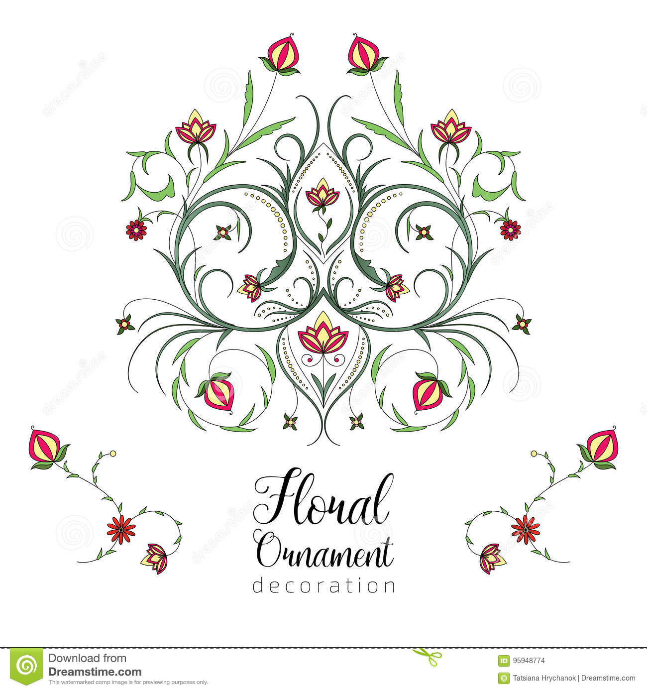 Vintage Floral Ornament For Invitations To A Wedding Anniversary