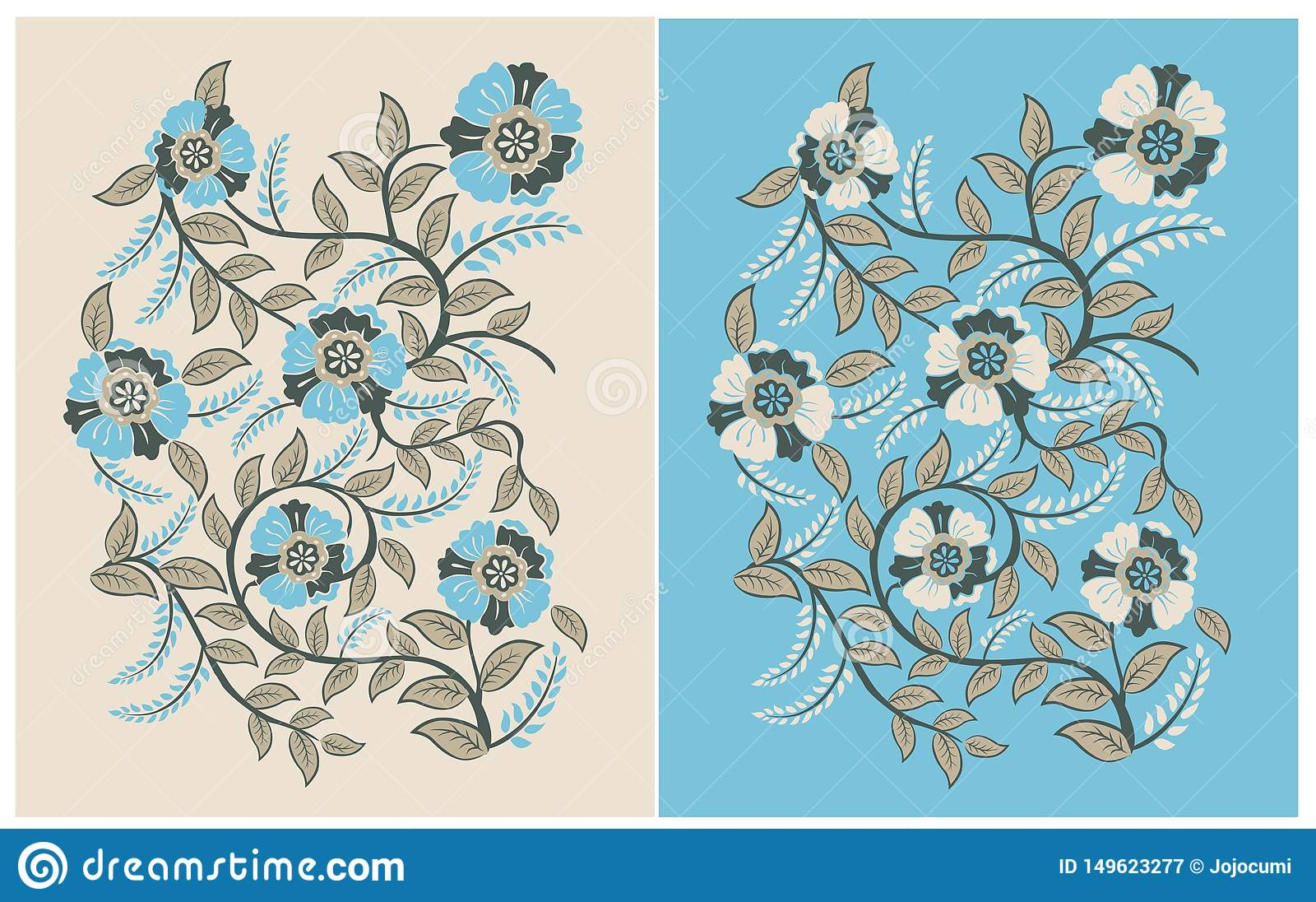 Vintage Flowers Pattern soft color blue and brown