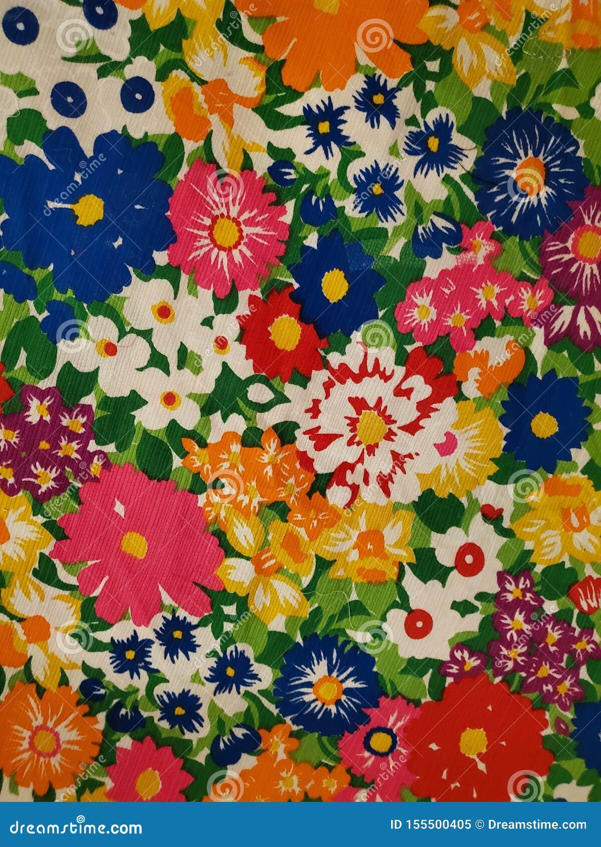 Vintage Floral Pattern Fabric 70s Decor Design Wallpaper Stock
